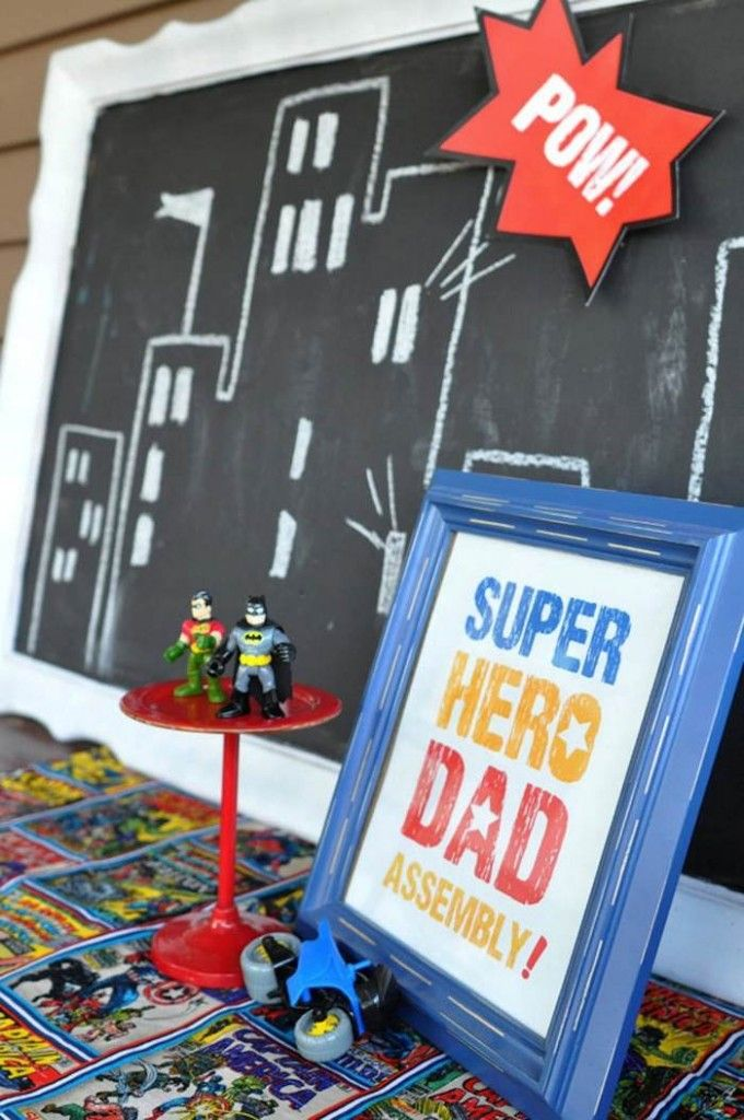 omg, framed chalkboard to use at every party is brilliant!Superhero Birthday Party for Dad Full of Fun Ideas via Kara's Party Ideas | KarasPartyIdeas.com #SuperheroParty #PartyIdeas #Supplies (5)