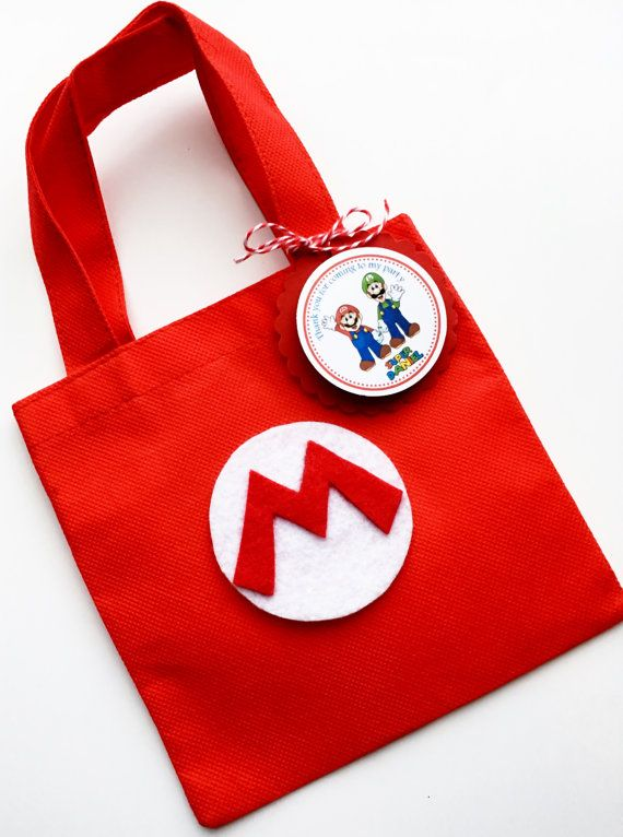 Set of 12 Super Mario Bros Favor Bags with Personalized Thank You Tags, Mario Favor Bags, Mario Goody Bags, Mario Party, Mario Birthday