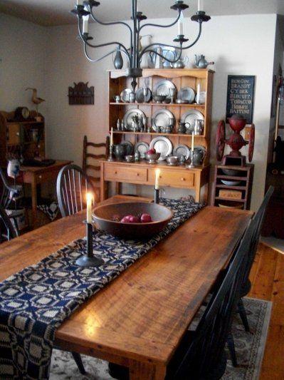 primitive tableold pewter dishes table runner - Primitive Kitchen Tables