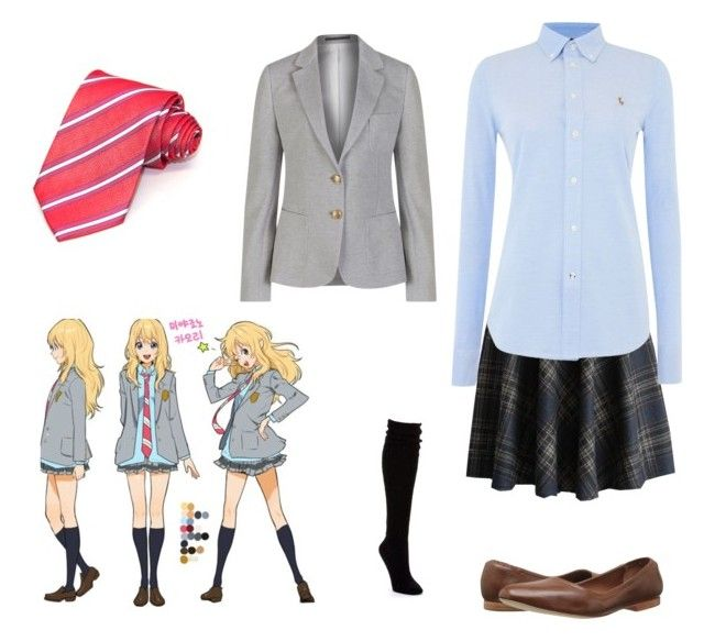 """""""Casual cosplay kaori (your lie in April)"""" by cloudysky321 ❤ liked on Polyvore featuring Chicwish, Polo Ralph Lauren, GANT, Yves Saint Laurent, Hue and Bernardo"""