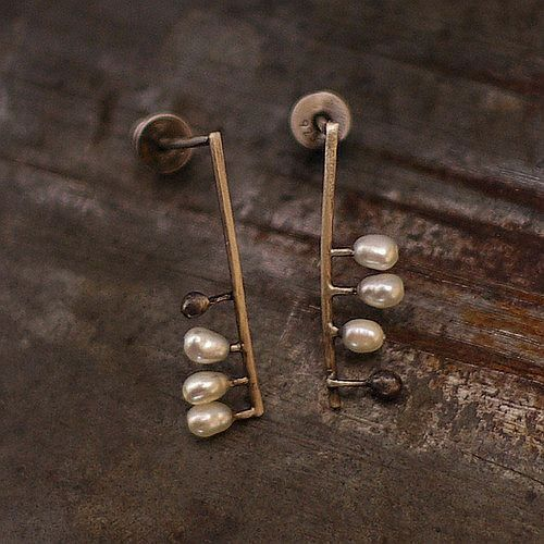 tiny earrings white freshwater pearl sterling by ewalompe
