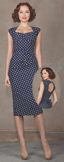 Stop Staring! Love Fitted Navy Polka Dot Dress. Would be nice with a pop of red - heels and clutch