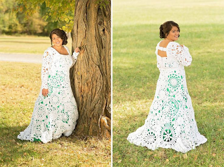 When a 22-year-old Abbey Ramirez-Bodley from Arkansas city, U.S. couldn't find a wedding dress in her budget, she decided to make one herself. Her aunt, who taught her how to crochet when she was 3 years old, kindly agreed to help. On October 17th, after 8 months of hard work, Ramirez-Bodley walked down the aisle in the dress of her dreams which only cost her $70, plus $100 for a green dress underneath.