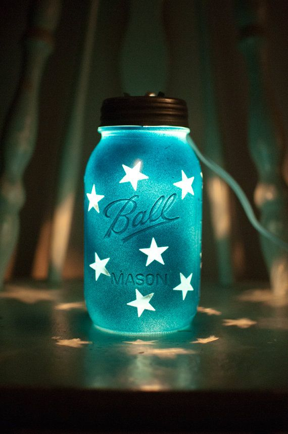 Handcrafted Colorful Mason Jar Night Lights and Decor: Blue Mason Jar Night Light with star pattern.  Great for kids, decor or weddings