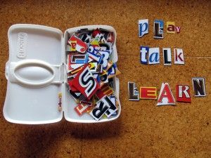 I need to make one of these!  The Letter Box: cut out letters from food boxes before recycling them. WORD WORK