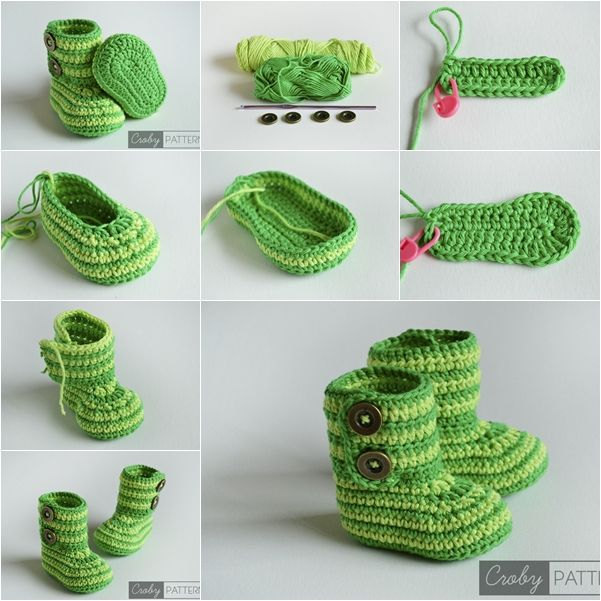 DIY Green Zebra Crochet Baby Booties with Free Pattern