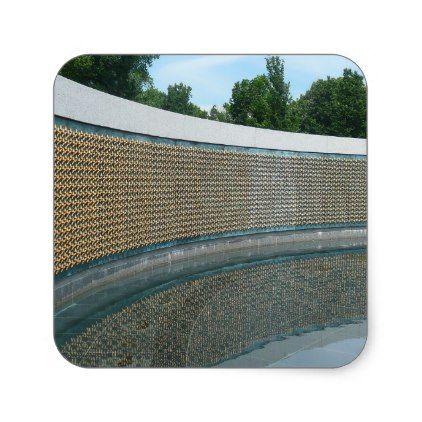 #WWII Memorial Freedom Wall Square Sticker - #VeteransDay Veterans Day #usa #american #flag #patriotic #4thofjuly #memorialday #veterans #patriot #independenceday #americanpride #starsandstripes