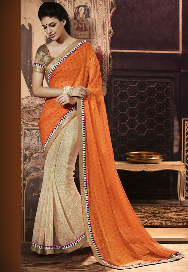 Orange Gold Saree #saree #sari #blouse #indian #hp #outfit  #shaadi #bridal #fashion #style #desi #designer #wedding #gorgeous #beautiful