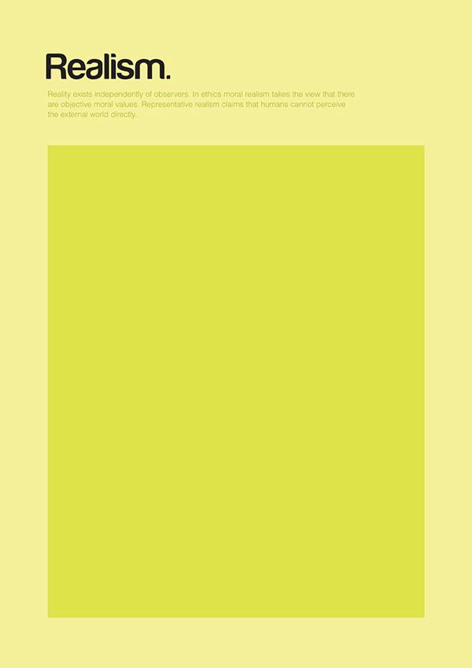 Cartazes minimalistas de Genís Carreras sintetizando conceitos filosóficos - Realismo