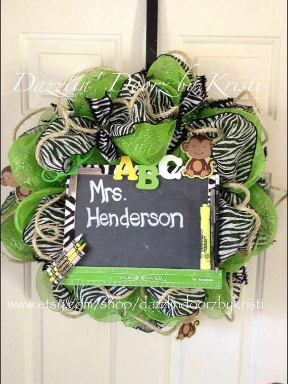 Hey, I found this really awesome Etsy listing at http://www.etsy.com/listing/156993252/classroom-zebra-wreath-teacher-wreath