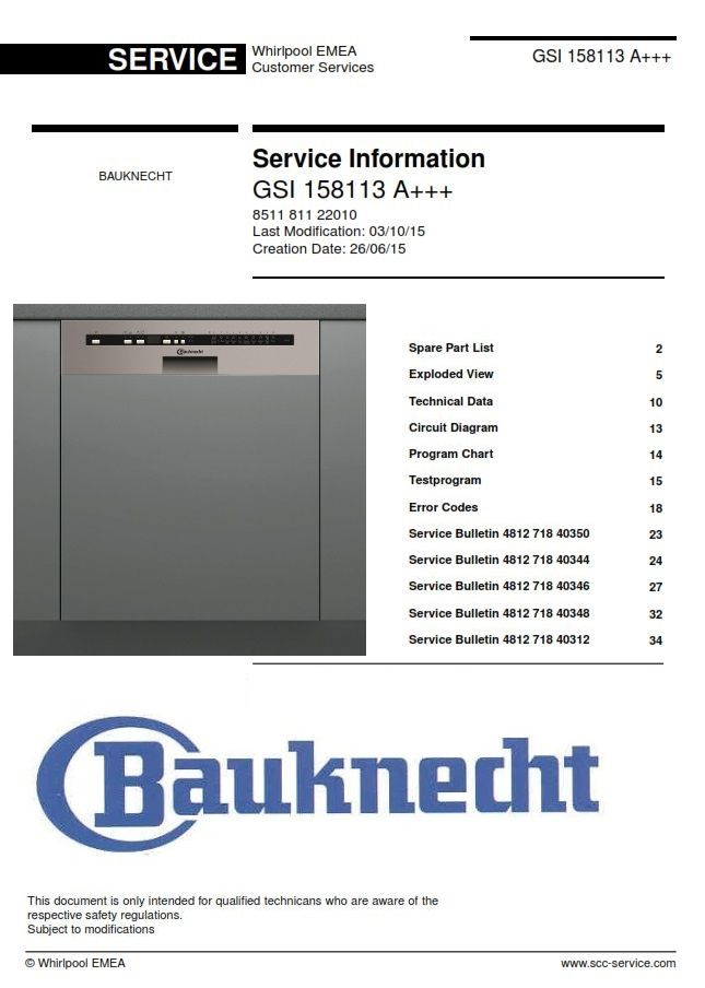 Bauknecht Gsi 158113 A Dishwasher Geschirrspuler Service Manual Handbuch Dishwasher Service Gsi Dishwasher