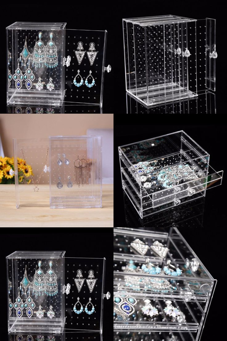 [Visit to Buy] NEW Acrylic Earring Display Stand Organiser Holder Jewelry Studs Storage Box Clear Good Gift To Girlfriend #Advertisement