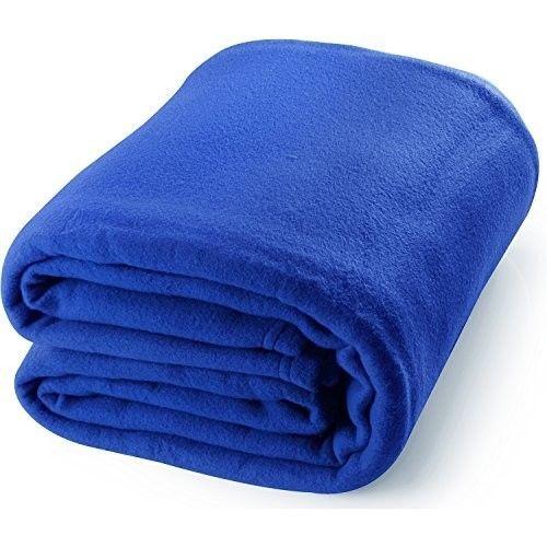 Fleece Thermal Blanket Queen Size Soft Lightweight Fabric Warm Couch Throws Navy #FleeceThermalBlankets