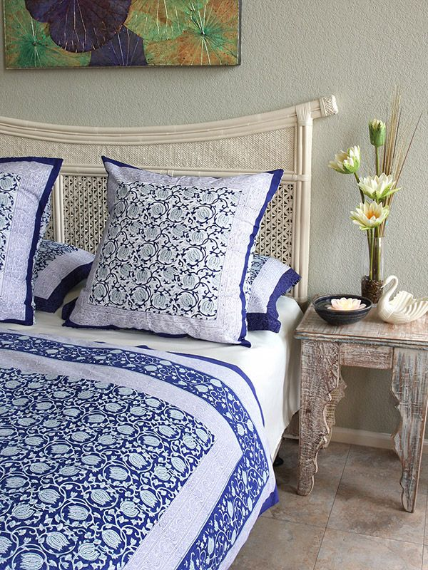 Asian Euro European Pillow Cover Sham Blue Floral 26 x 26 square