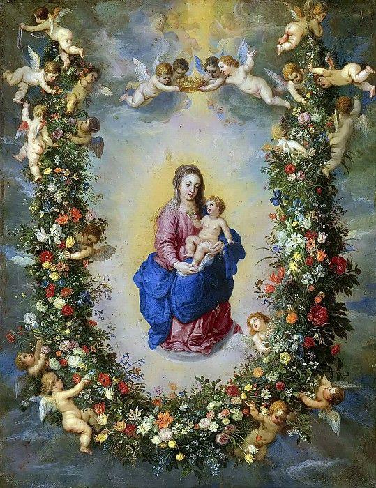 Мадонна с Младенцем в окружении херувимов и цветочной гирлянды (совместно с Хендриком ван Баленом). Ян Брейгель Старший