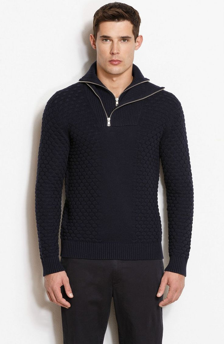 Double Layer Textured Mockneck Sweater - New Arrivals - Mens - Armani Exchange