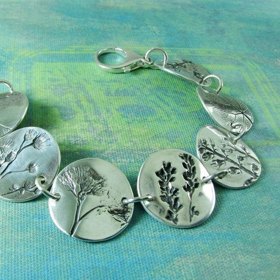 Summer's Farewell, PMC OOAK Jewelry, Fine and Sterling Silver, Natural Plant Impressions, Artisan Handmade Bracelet
