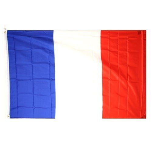 France National Flag (3' x 5', 100% Polyester) by Urban Boundaries. $5.99. 3' x 5'. 100% Polyester. Perfect for your dorm room, bedroom, or casual outdoor use. We do not recommend the 100% Polyester Flags for continued (everyday, all day) use outdoors. They are great to celebrate specific events, but are not created to sustain a 365 day, all weather hanging. All flags have the edges sewn down and come with two metal grommets for easy display.