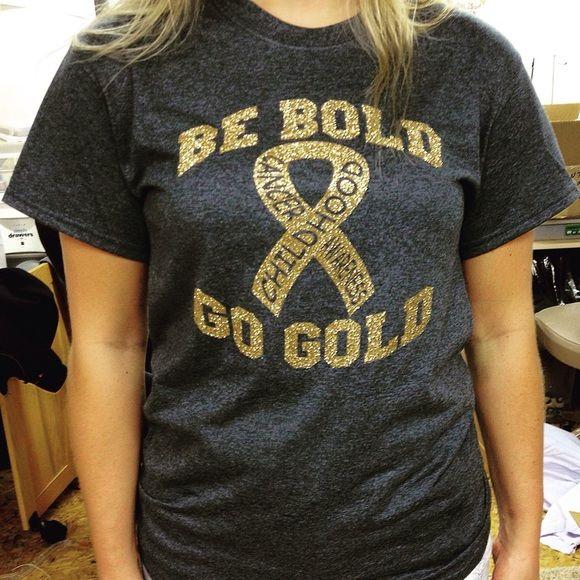 Childhood Cancer Awareness Shirts Childhood Cancer Awareness Shirts This-N-That Embroidery Tops Tees - Short Sleeve