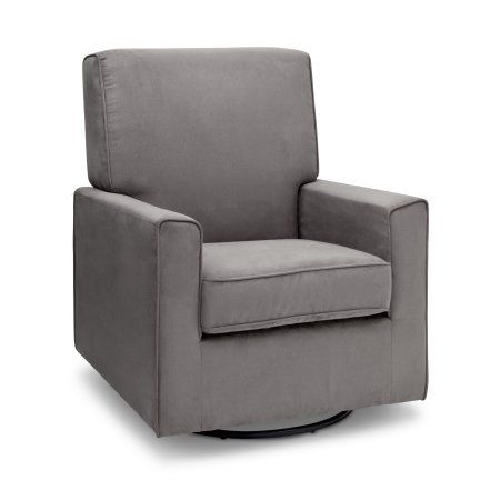 Delta Children Ava Nursery Glider Swivel Rocker Chair, Graphite, Gray