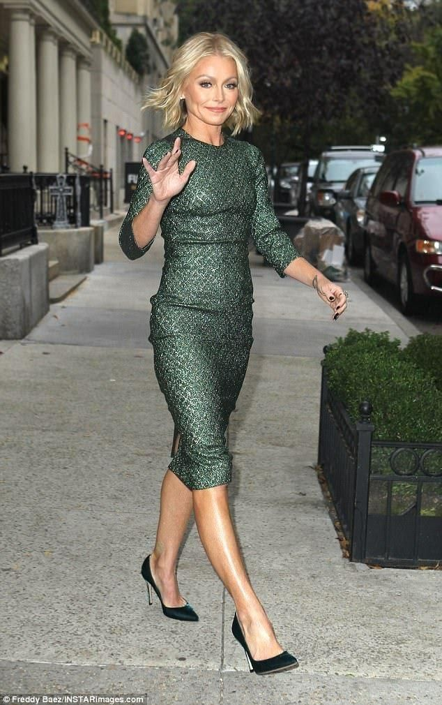 Kelly Ripa wearing Gianvito Rossi Pumps and Dolce & Gabbana Lame Jacquard Green Sheath Dress