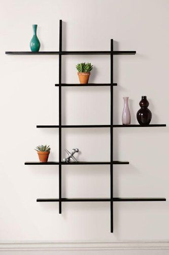 """Tall Contemporary Display Shelf, TALL, BLACK by Home Decorators Collection. $174.00. Assembly required.. Standard: 41""""H x 48.5""""W x 6.5""""D.. Tall: 66""""H x 49.75""""W x 4.5-6""""D (shelf depth varies).. The Tall Contemporary Display Shelf provides a great way to show off your favorite home accessories. Hang it in your living room to hold a mantel clock, or in your bedroom to display your favorite pictures, vases or candles. Stylish and sturdy, this wall decor offers a modern lo..."""