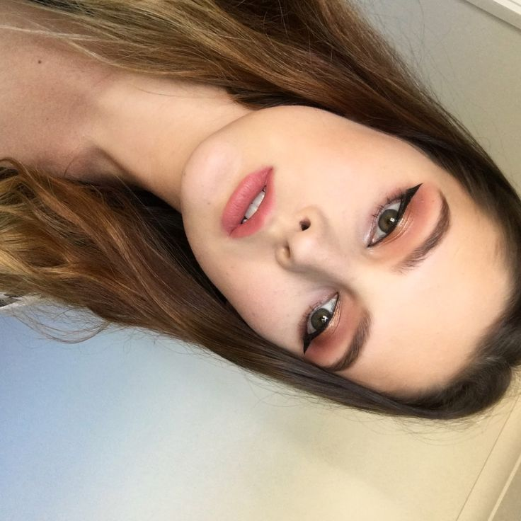 Light pink and orange spring makeup
