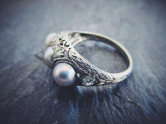 Magnifique bague de fiançailles Vintage perle platine trois édouardienne perles Žtat diamants taille de 1910 5 3/4