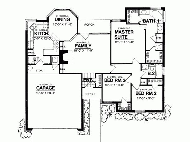 Best Ranch Style House Plan 3 Beds 2 Baths 1300 Sq Ft Plan 400 x 300