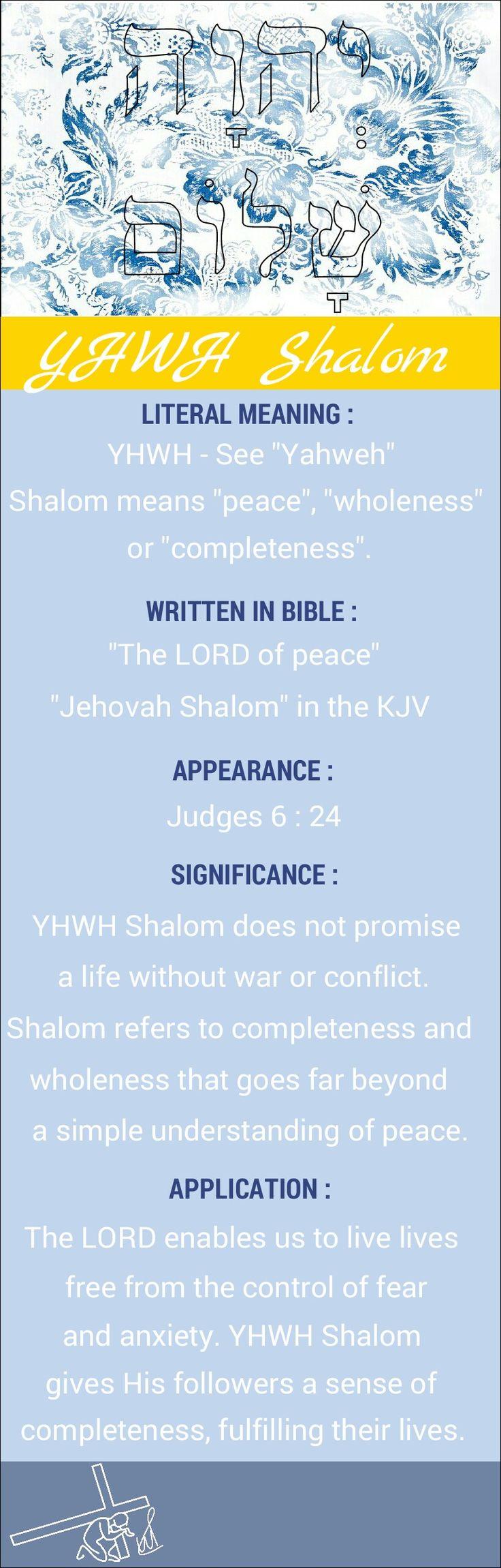 Names of God YHWH Shalom Yahweh Shalom Jehovah Shalom The LORD of peace
