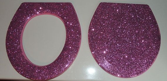 Glitter Toilet Seat by TallulahMaeboutique on Etsy, $40.00 Available in Pink, Silver, Gold and Black or a custom request