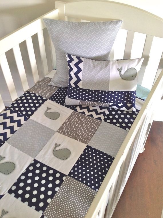 Moby Whale Baby boy Quilt and two cushion covers, (grey) from alphabet monkey.etsy.com