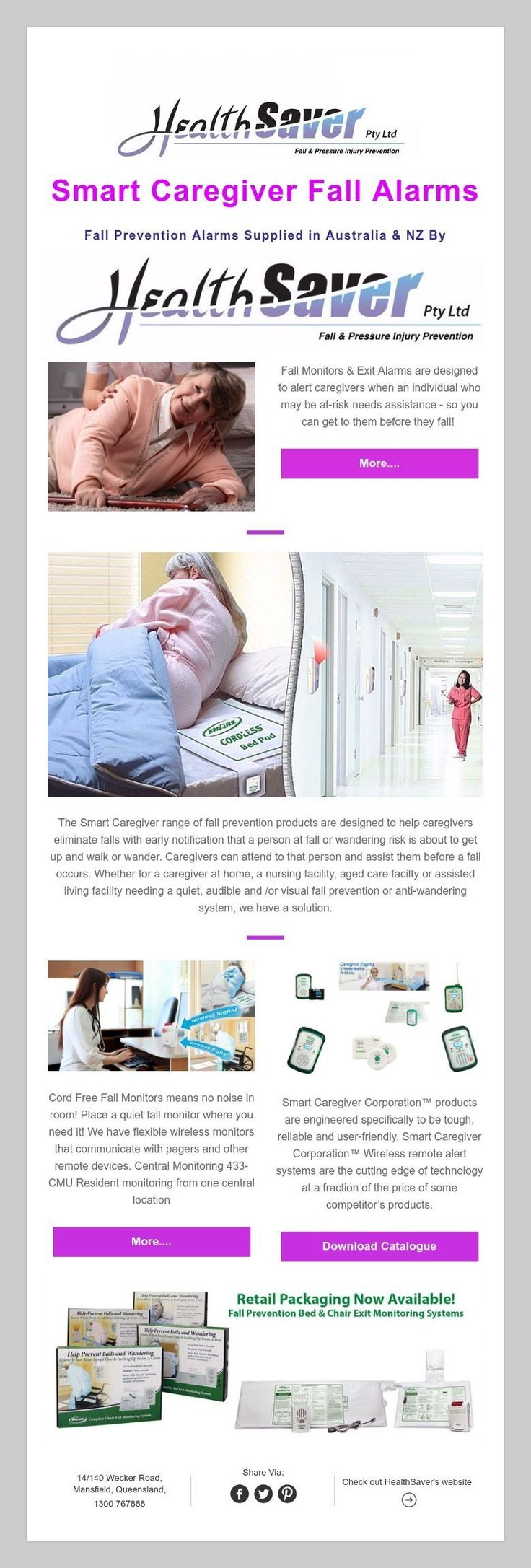 Smart Caregiver Fall Alarms  FallPrevention Alarms Supplied in Australia & NZ By