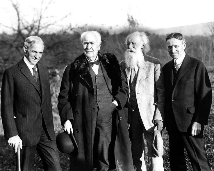 Henry Ford, Thomas Edison, John Burroughs, and Harvey Firestone. Godfathers of Invention.