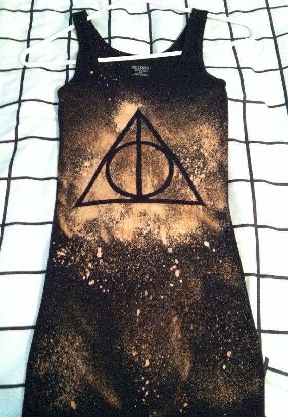 Harry Potter Deathly Hallows Bleach Shirt by BleachfestAtTiffanys, $15.50 I could easily make this myself! Just stencil and spray with bleach! Maybe a lightning bolt instead though.