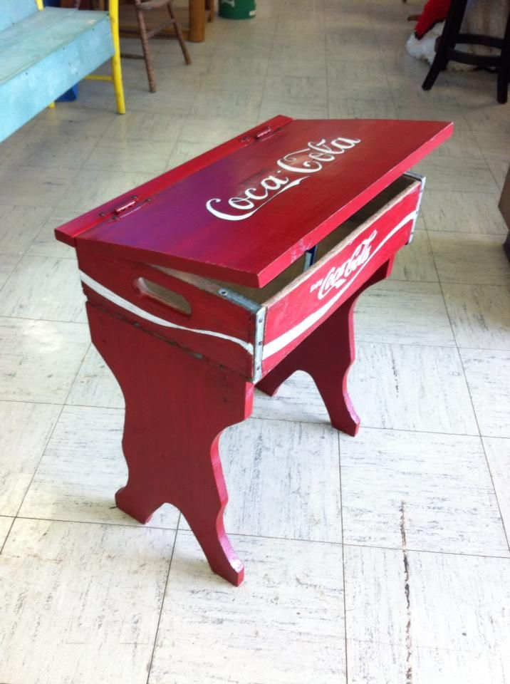 A custom created order we did. Had to completely freehand all the lettering. Loved creating this upcycled creation outta a old Coca Cola Wooden Box.  COKE inspired child Desk made by WHAT WORKZ of Anderson, IN