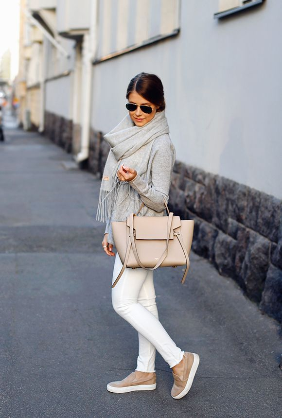 """Cool tones of early autumn Sweater By Malene Birger , Jeans AllSaints , """"Highland"""" scarf Balmuir Bag Céline , Shoes Massimo Dutti , Wing bracelet Phoebe Coleman Fashion Trend By Mari Annan"""