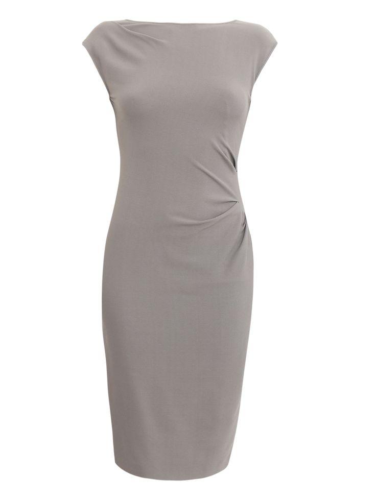 Купить со скидкой Alberta Ferretti серое платье-футляр без рукавов с драпировкой (80534) – распродажа в Боско Аутлет