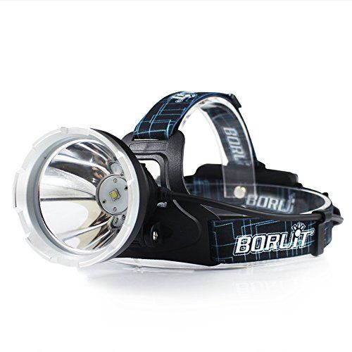 Boruit B10 XM-L2 LED lampe frontale zoomable phare LED torche avec 3 modes, 5000 Lumen imperméable rechargeable lampe de poche lampe…