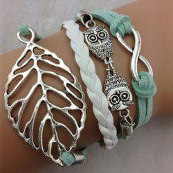 Bracelet à Breloques Couche Branché Feuille Hibou Pour Femmes