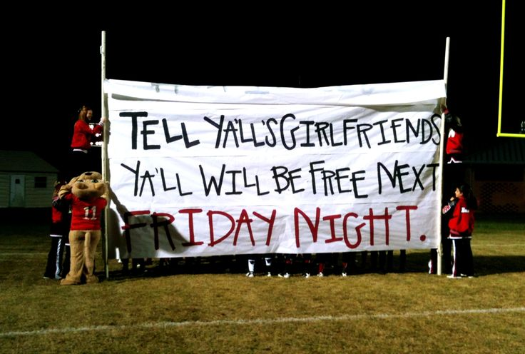 Football run through sign-this weeks run through sign for the playoffs...have pity on us the top part fell before the boys could run through it but it did have to endure a 2 1/2 hour trip. Top part said HEY TIGERS...tell y'all's girlfriends y'all will be free next Friday night
