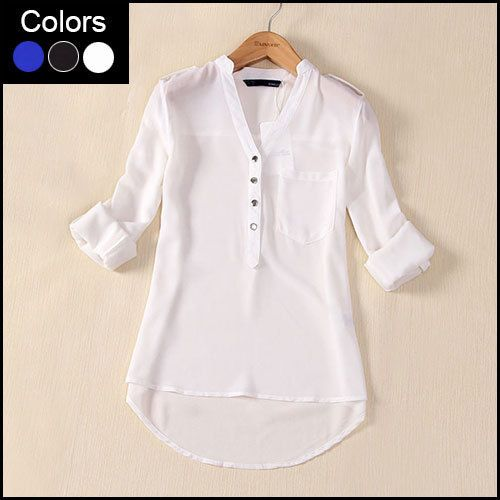 Cheap blouses black and white, Buy Quality blouse satin directly from China shirt check Suppliers:            Women Blouses 2014 Autumn Fashion Female Clothes V Neck Long Sleeve Casual Chiffon Zipper Slim Top Blous