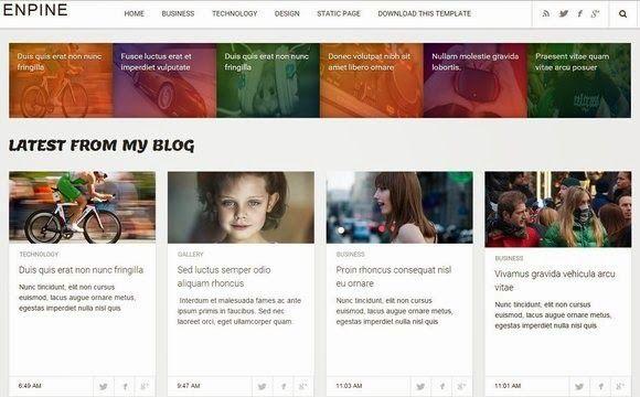 Enpine é um template blogger galeria, design responsivo, 2 colunas, 1 barra lateral direita, cabeçalho flutuante, botões sociais, ícones de compartilhamento, box perfil do autor abaixo de cada post, 5 colunas de rodapé e mais recursos. Enpine é um layout excelente para blog sobre tópicos em geral.