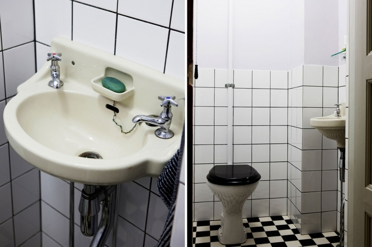 Combine and old sink with new period details from Byggfabriken! Tiles, toilet, old style faucets... http://www.byggfabriken.com
