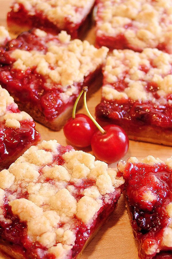 Cherry Pie Crumble Bars by WickedGoodKitchen.com | #cherry_desserts #dessert_bars #fruit_desserts