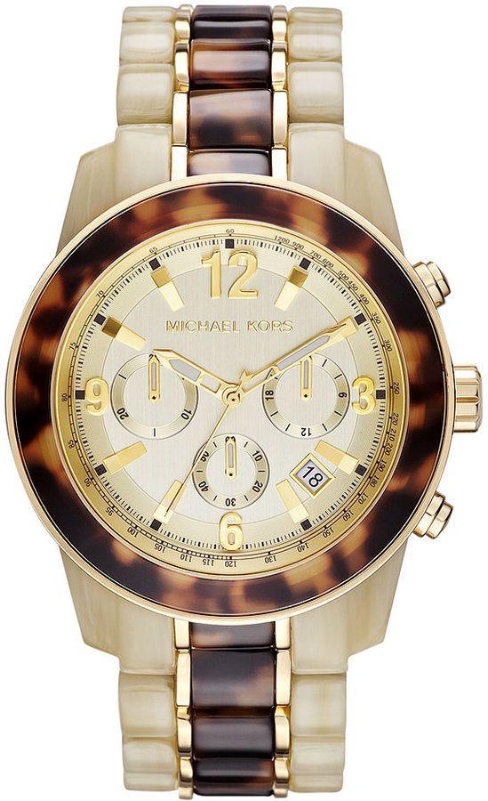 Michael Kors Часы, женский хронограф Two-Tone Ацетат и золото-Tone Браслет из нержавеющей стали 43мм MK5764