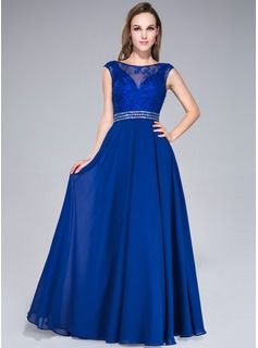 A-Line/Princess Scoop Neck Floor-Length Chiffon Tulle  Dress With Lace Beading Sequins