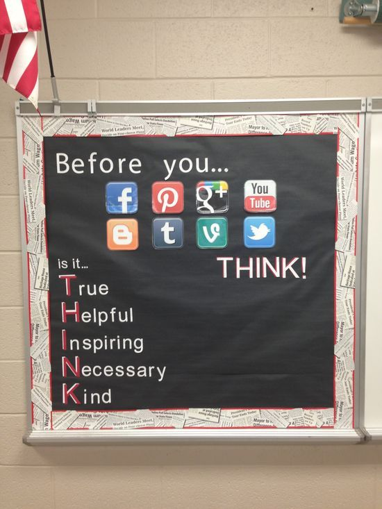 Classroom Decor Ideas: THINK bulletin board for high school students....(this could apply to more than high school students!)