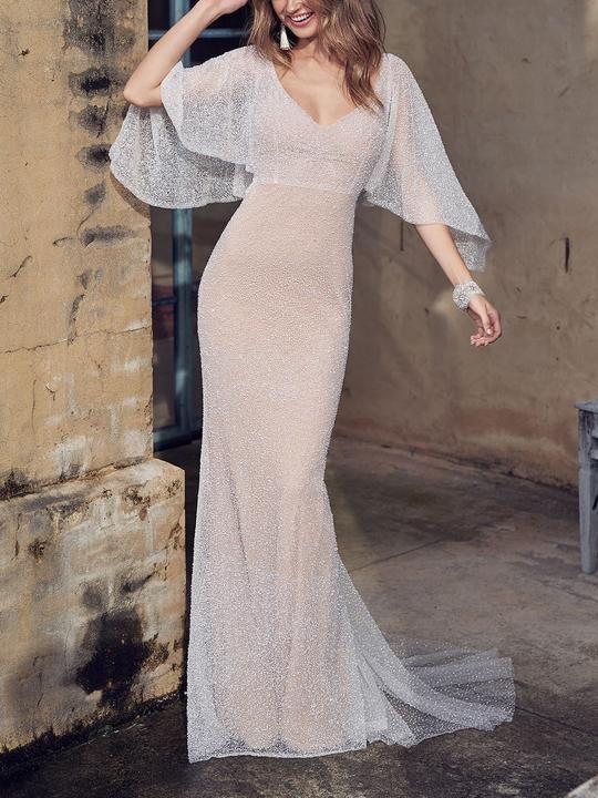 Autumn Fashion Elegant Dignified Slim Sleeveless White Party Evening Maxi Dress