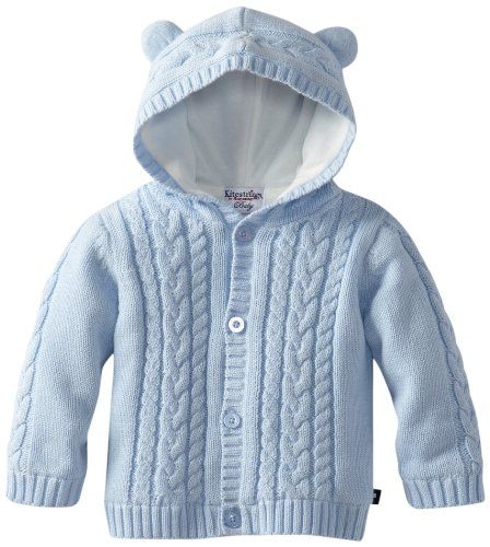 Baby boy hooded cotton sweater cardigan jacket with ears, button down front, cable knit, fully lined with jersey